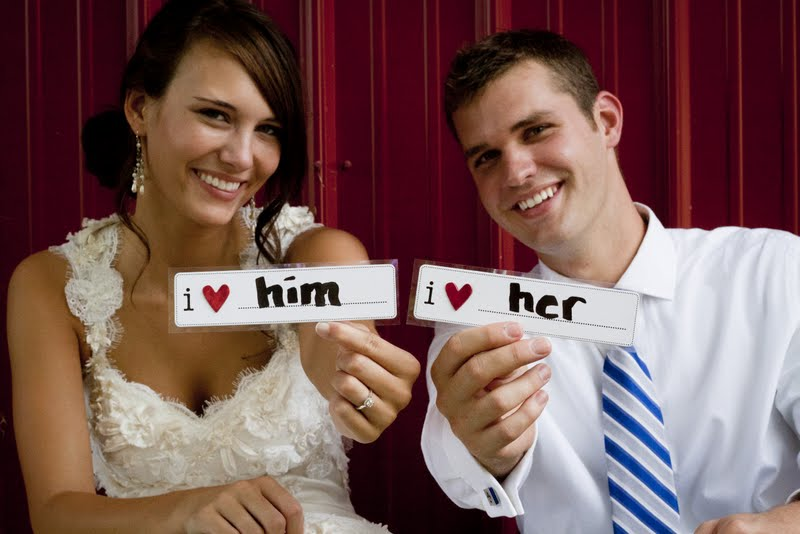 I love her and him wedding couple